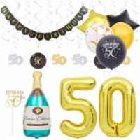 50th Birthday Decorations, Balloons, Cake Toppers and Party Banner (49 Pieces) - PACK