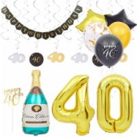 40th Birthday Decorations, Balloons, Cake Toppers and Party Banner (49 Pieces) - PACK