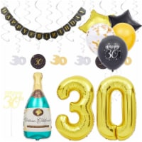 30th Birthday Decorations, Balloons, Cake Topprs, and Party Banner (49 Pieces) - PACK