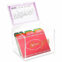 Acrylic Recipe Box with 60 Cards and 24 Dividers (85 Pieces)