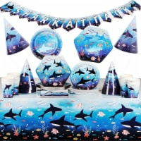 Shark Party Dinnerware, Banner, Plastic Tablecloth, Hats (Serves 24, 123 Pieces) - PACK