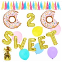 Two Sweet 2nd Birthday Decorations, Donut Balloons, Tassels, Weight (42 Pieces) - PACK