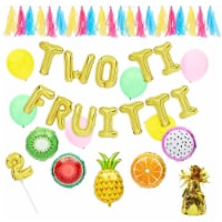 2nd Birthday Decorations, Fruit Balloon Garland, Cake Topper, Banner (38 Pieces) - PACK