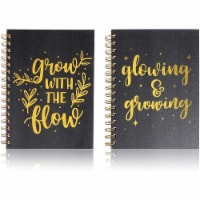 Motivational Spiral Notebooks, Gold Foil Journals (5.25 x 8.25 in, 2 Pack) - PACK