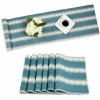 Striped Dining Table Runner and Placemats, Set of 6 (7 Pieces)