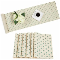 Ivory Dining Table Runner and Placemats, Set of 6, Green Foil (7 Pieces)