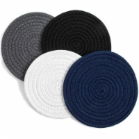 Cotton Trivet Potholder Set, Round Coasters in 4 Colors (7 Inches, 4 Pack) - Pack
