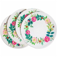 Okuna Outpost Round Cotton Placemats with Floral Wreath (13 in, 4 Pack) - Pack