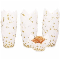 Gold Polka Dot Muffin and Cupcake Liners (White, 3.35 x 3.5 In, 150 Pack) - PACK