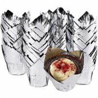 Silver Tulip Cupcake Liners, Foil Muffin Baking Cups (3.35 x 3.5 In, 100 Pack) - PACK