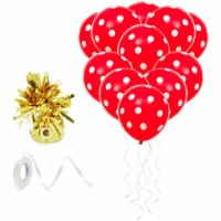 Red Polka Dot Balloons with Weight for Girl Birthday Party Decorations (50 Pack) - PACK