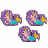 Mini Mermaid Piñatas for Girls Birthday Party Decorations (8 x 5 x 2.5 In, 3 Pack) - PACK