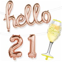 21st Birthday Party Rose Gold Foil Balloons, Hello 21, Champagne Glass (4 Pieces) - PACK