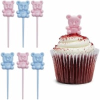 Teddy Bear Cupcake Toppers, Mini Gender Reveal Decorations (Pink, Blue, 100 Pack) - PACK