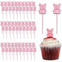 Pink Teddy Bear Cupcake Toppers, Baby Shower Decorations (0.85 x 3 In, 100 Pack) - PACK