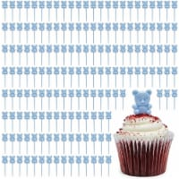 Blue Teddy Bear Cupcake Toppers, Baby Shower Decorations (0.85 x 3 In, 100 Pack) - PACK