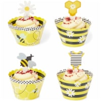 Bee Cupcake Toppers and Wrappers, Gender Reveal Party Supplies (104 Pieces) - PACK