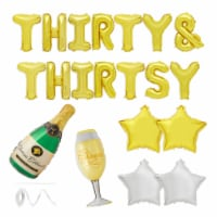 30th Birthday Party Balloons, Thirty &Thirsty Dirty 30 Decorations (Gold, 22 Pieces) - PACK