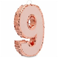 Rose Gold Pinata for 9th Birthday Party, Number 9 (Small) - PACK