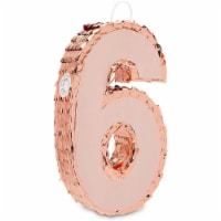 Rose Gold Pinata for 6th Birthday Party, Number 6 (Small) - PACK
