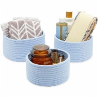 Farmlyn Creek Cotton Woven Baskets for Storage, Light Blue Organizers (3 Sizes, 3 Pack) - Pack