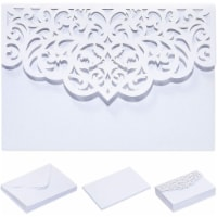 White Laser Cut Wedding Invitations with Envelopes (7.15 x 4.95 in, 24 Pack) - PACK