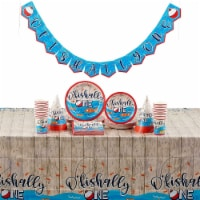 O'fishally One 1st Birthday Party Supplies, Dinnerware, Decor, Table Cover (123 Pieces) - PACK