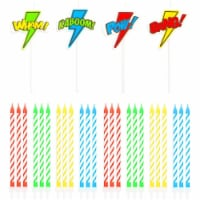 Comic Book Hero Cake Topper and Thin Candles, Birthday Party Supplies (28 Pieces) - PACK