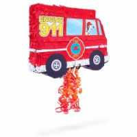 Fire Truck Pull String Pinata for Birthday Party Decorations (16 x 12.3 x 3 In) - PACK