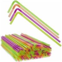 Plastic Drinking Straws, Single Use Bendable Straws (4 Colors, 13 In, 200 Pack) - PACK