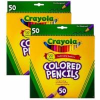 Colored Pencils, Full Length, Assorted Colors, 50 Per box, 2 Boxes - 1