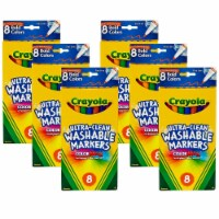 Ultra-Clean Washable Markers, Fine Tip, Bold Colors, 8 Per Box, 6 Boxes - 1