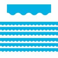 Aqua Scalloped Border Trim, 35 Feet Per Pack, 6 Packs - 1