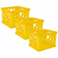 Mini Crate, School Yellow, Pack of 3 - 1