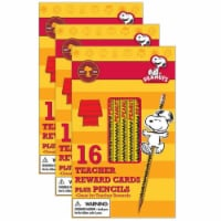 Peanuts® Snoopy Way To Go Pencil Rewards with Toppers, 16 Per Pack, 3 Packs - 1