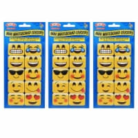 Non-Magnetic Mini Whiteboard Erasers, Emojis, 10 Per Pack, 3 Packs - 1