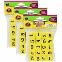 Foam Numbered Dice (1-6), 20 Per Pack, 3 Packs - 1