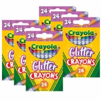 Glitter Crayons, 24 Per Pack, 6 Packs - 1