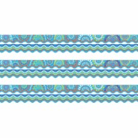 Double-Sided Border, Scalloped Edge, Moroccan Turquoise, 39 Feet Per Pack, 3 Packs