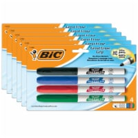 Great Erase® Low Odor Dry Erase Markers, Fine Point, Assorted Colors, 4 Per Pack, 6 Packs - 1
