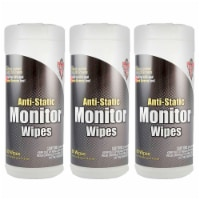 Falcon Safety Products FALDSCT-3 Anti Static Monitor Wipes Canister - 80 Count - 3 Each - 1