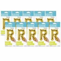 16  Foil Balloon, Gold Letter R, Pack of 10 - 1
