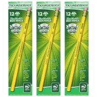 Original Ticonderoga® Pencils, No. 3 Hard Yellow, Unsharpened, 12 Per Box, 3 Boxes - 1