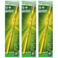 Original Ticonderoga® Pencils, No. 4 Extra Hard Yellow, Unsharpened, 12 Per Box, 3 Boxes - 1
