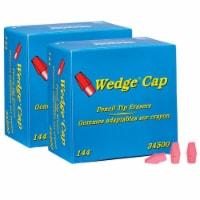 Wedge Pencil Cap Erasers, Pink, 144 Per Pack, 2 Packs - 1