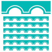 Simply Stylish Turquoise and White Awning Scalloped Border, 39 Feet Per Pack, 6 Packs - 1