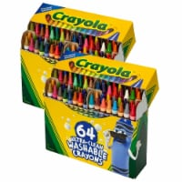 Crayola BIN523287-2 Ultra-Clean Washable Crayons, Regular Size - 64 Count - 2 per Pack