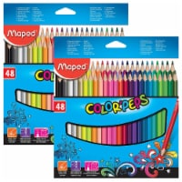 Color'Peps Triangular Colored Pencils, Assorted Colors, 48 Per Pack, 2 Packs - 1