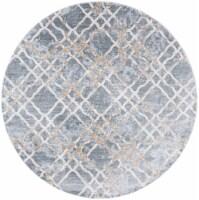 Martha Stewart Isabella Round Rug - Silver/Ivory - 6 ft 7 in