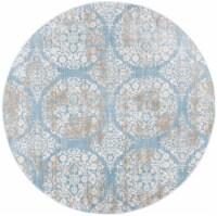 Martha Stewart Isabella Round Rug - Denim Blue/Ivory - 6 ft 7 in